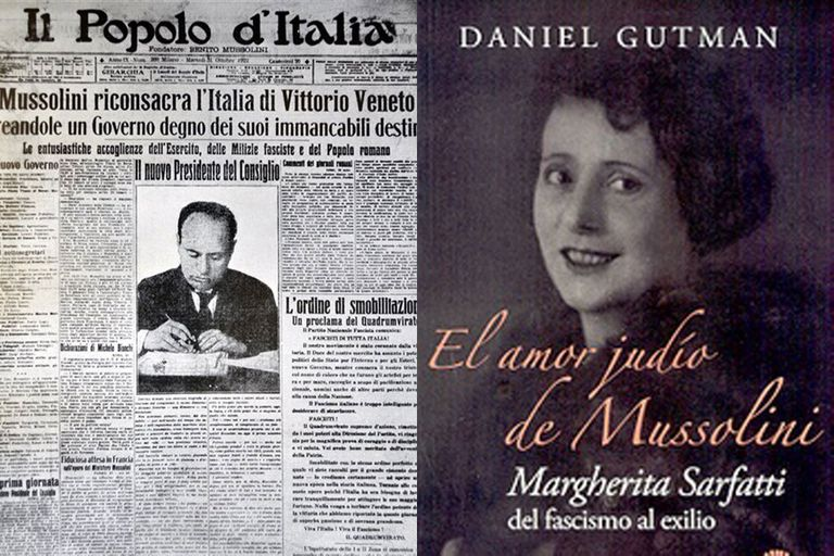 El diario Il Popolo d'Italia anuncia la toma del poder por parte de los fascistas. A la derecha, la portada del libro de Daniel Gutman, El amor judío de Mussolini