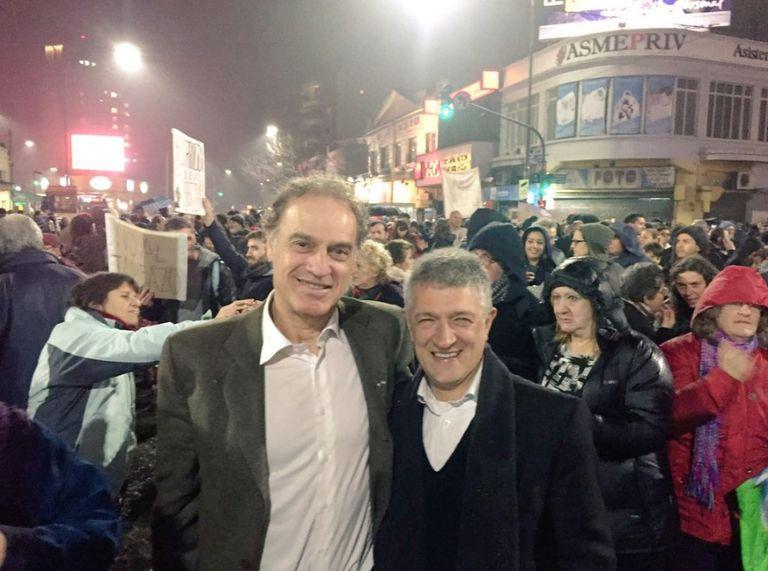 El ex jefe de Gobierno Aníbal Ibarra y Gustavo López se hicieron presentes en la marcha