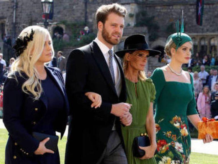 Louis Spencer con sus tres hermanas en la boda de Harry y Meghan.