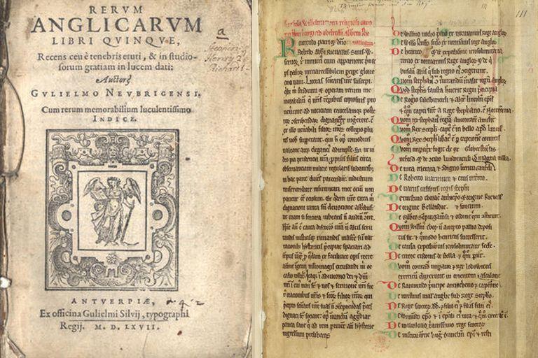 La historia de los niños verdes fue narrada en dos obras. Este es uno de los originales que se conservan de Historia rerum Anglicarum de William de Newburgh, escrito en 1189