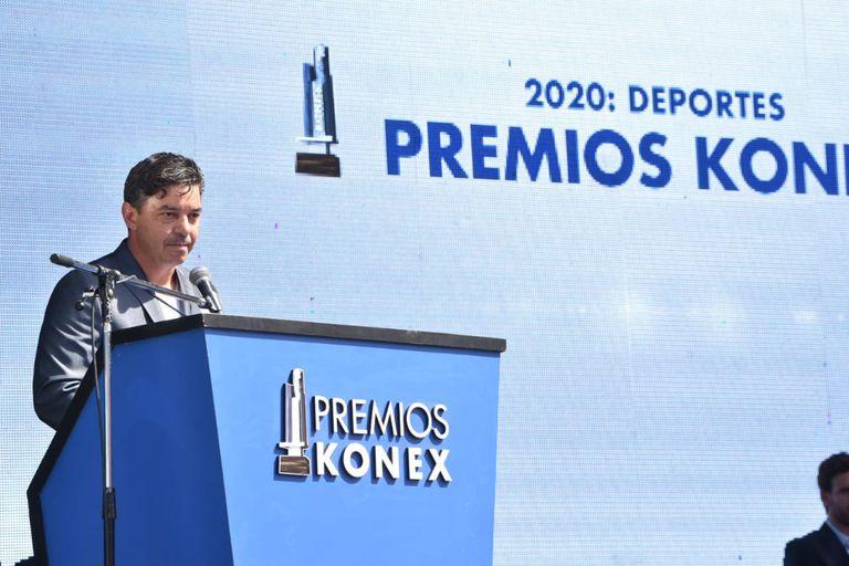 Marcelo Gallardo durante la entrega de los Premios Konex 2020