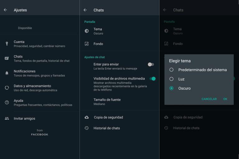 Los pasos para ir al modo oscuro (con la última versión beta disponible): en Ajustes ir a Chats, luego a Tema, y ahí elegir la opción
