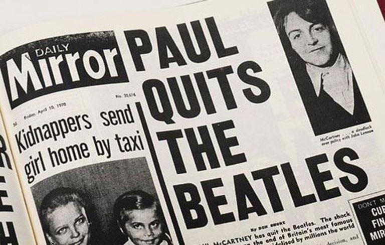 La nota de Daily Mirror donde se anunciaba la separación de los Beatles