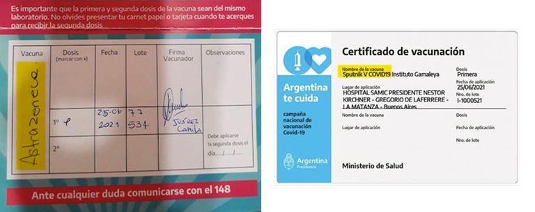Discrepancias entre el certificado de vacunación impreso y digital de Carlos, de 52 años, vecino de La Matanza