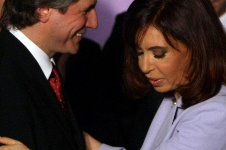 Cristina Kirchner y Amado Boudou durante el anuncio de la estatización de las AFJP