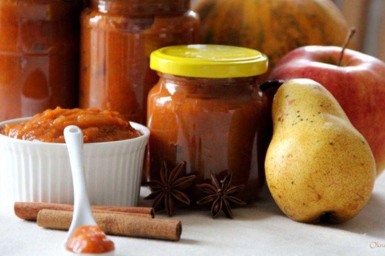 Mermelada de calabaza, peras y manzanas