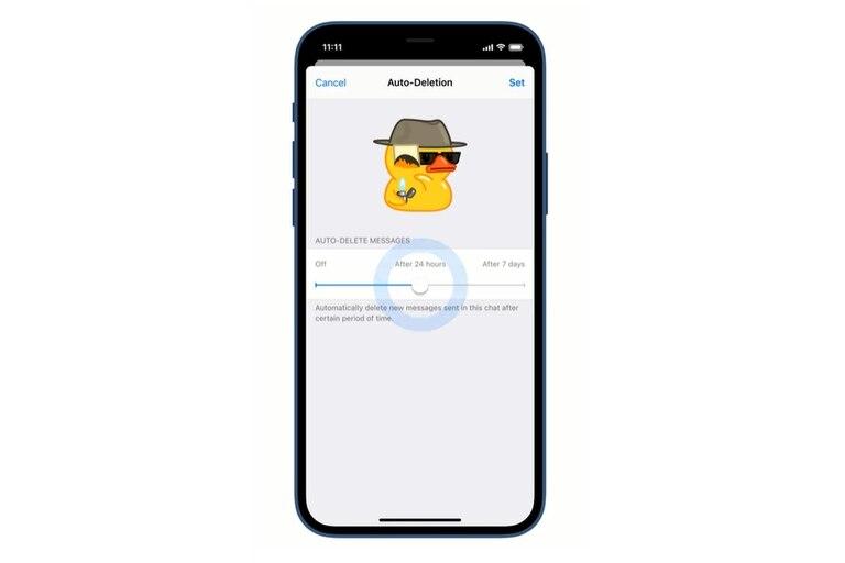 Una vista del ajuste del temporizador de borrado automático de Telegram, disponible por 24 horas o siete días