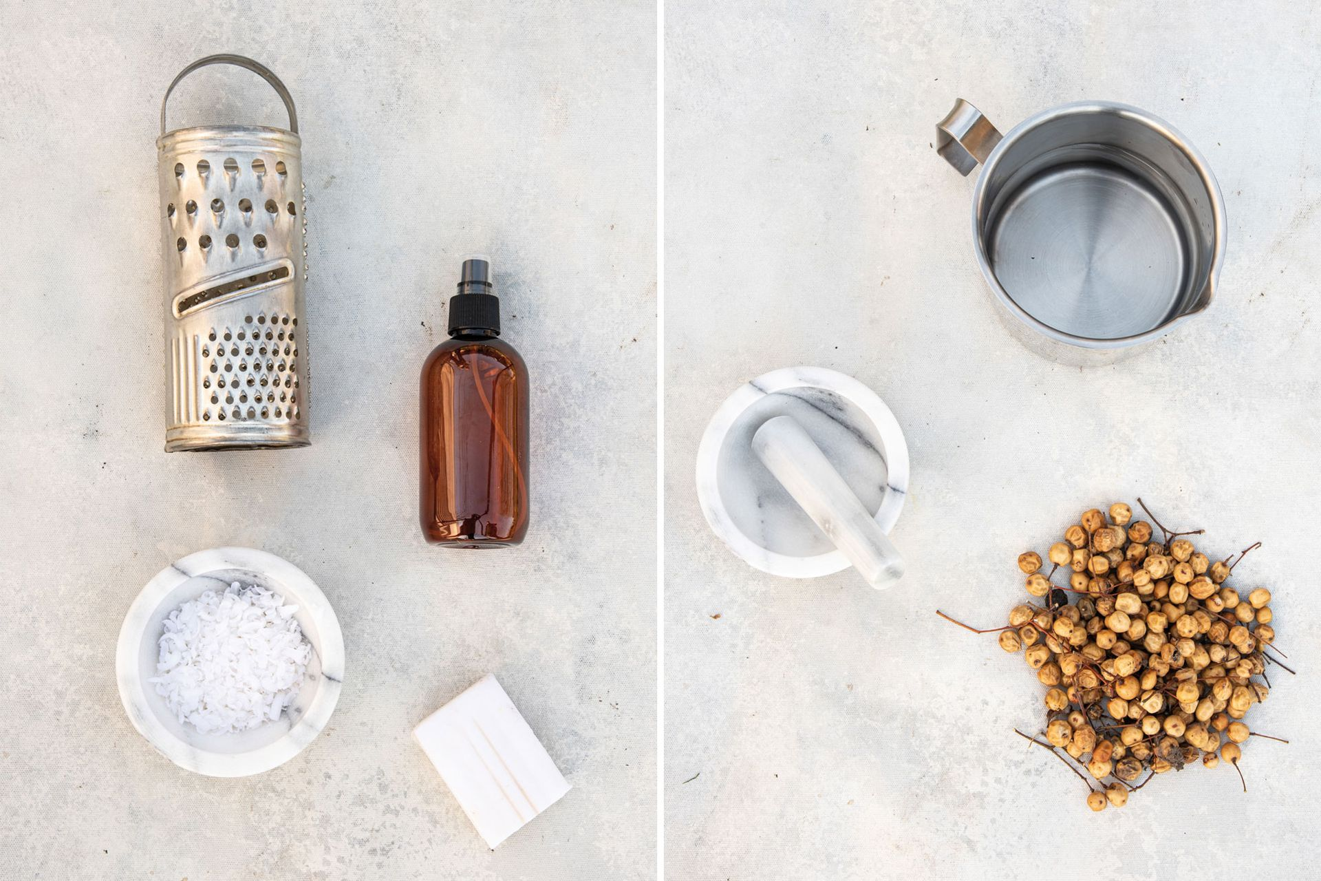Izquierda: Preparado de jabón blanco. Derecha: Purín de paraíso (Melia azedarach).