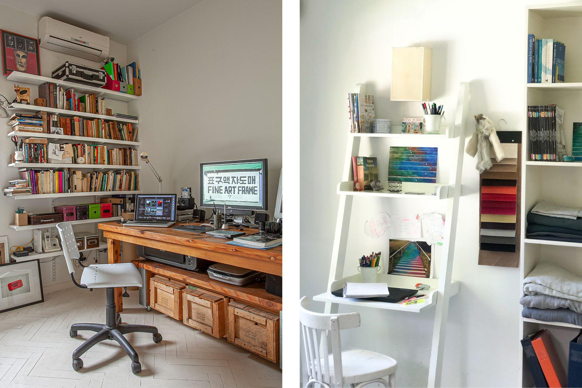 Izq.: El escritorio y mueble de almacenamiento del fotógrafo Daniel Karp. Der.: Con muy poco, la productora Natalia Pietracupa armó un mini oasis para sus proyectos.