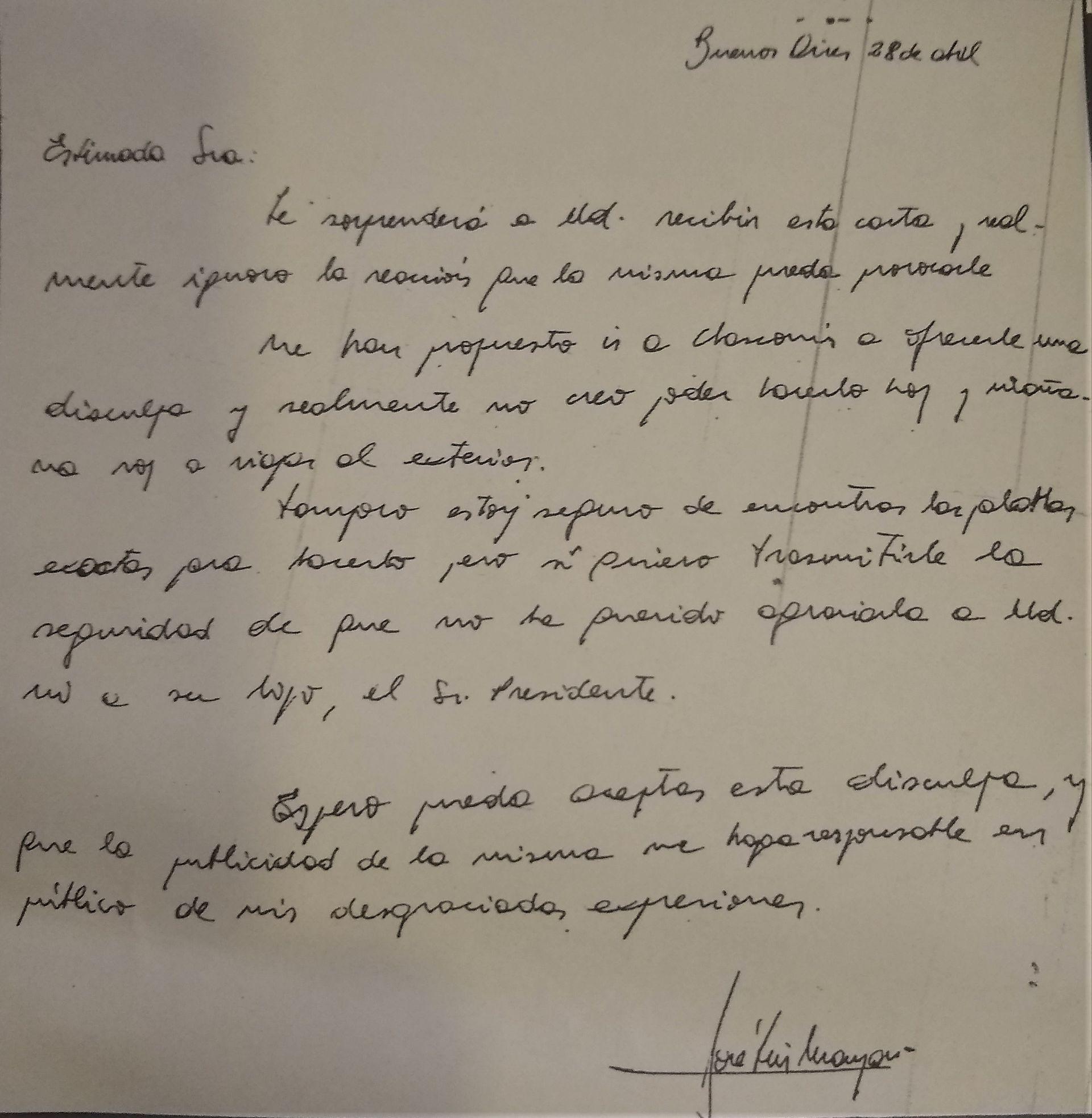 El 28 de abril de 1988, dos días después de haber insultado a Alfonsín durante un acto en Orán, José Luis Manzano le escribió esta carta a Ana María Foulkes, madre del entonces presidente, para pedirle disculpas.