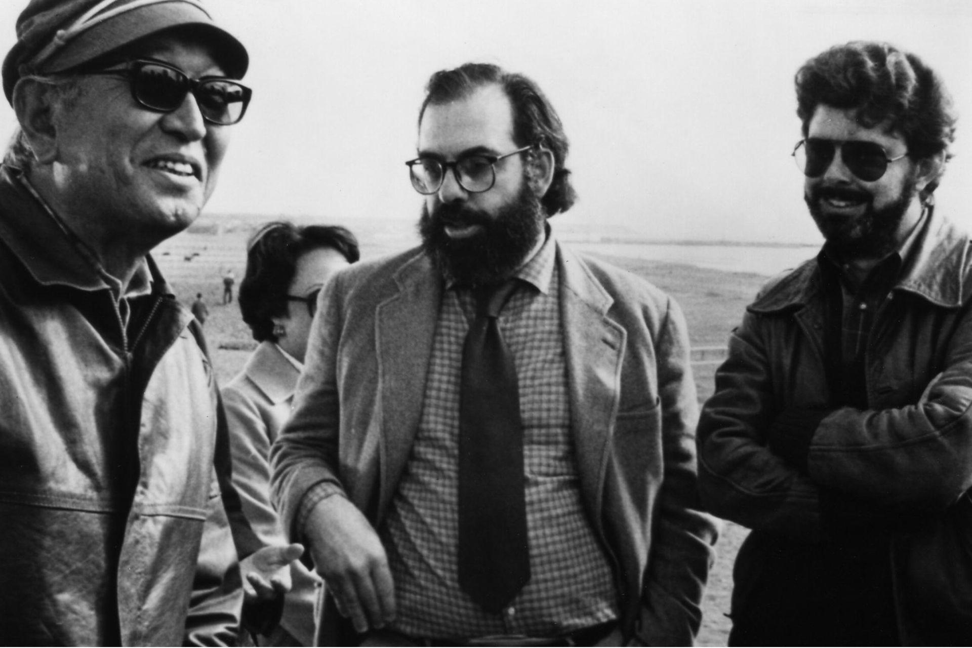 Coppola, George Lucas y Akira Kurosawa en 1980, durante el rodaje de una de las producciones de American Zoetrope, Kagemusha.