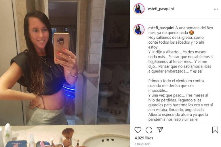 A punto de entrar en el octavo mes, Estefanía Pasquini contó cómo fueron los primeros meses de embarazo