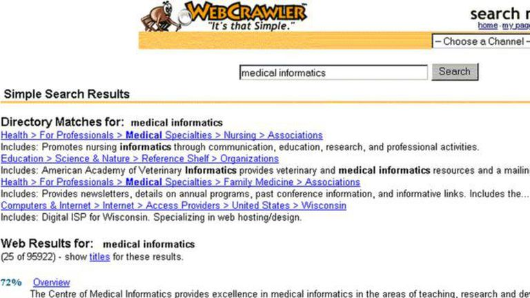 Así se veía Webcrawler