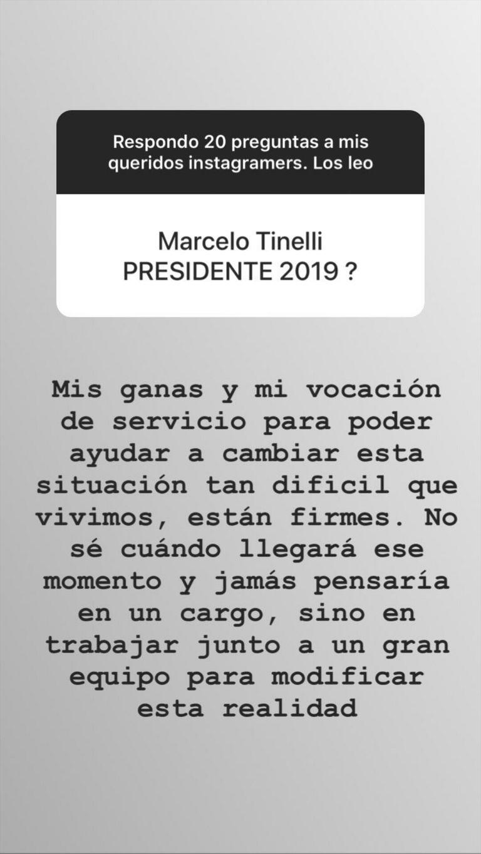 Tinelli respondió las preguntas de sus seguidores a través de stories de Instagram.