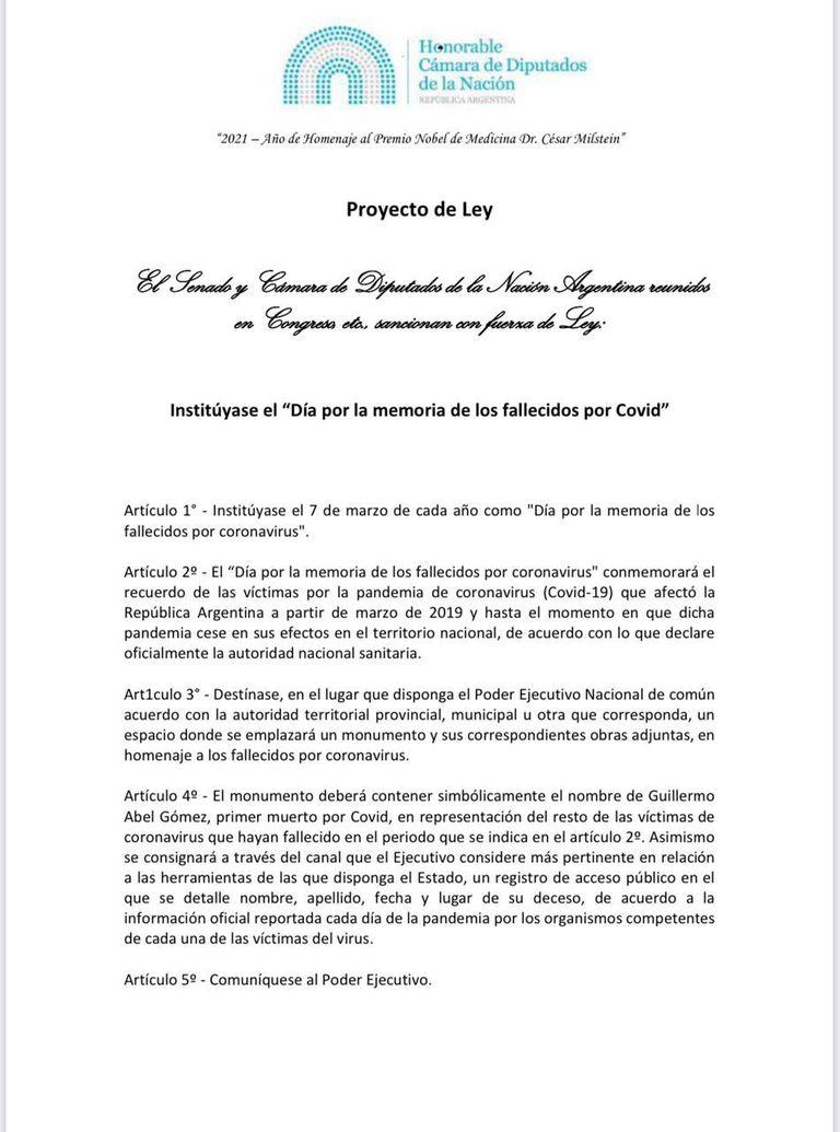 El proyecto de ley propone que el día para conmemorar a los muertos por coronavirus en el país sea el 7 de marzo, cuando murió, en 2020, Guillermo Abel Gómez, la primera víctima argentina