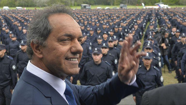 El candidato presidencial del oficialismo Daniel Scioli