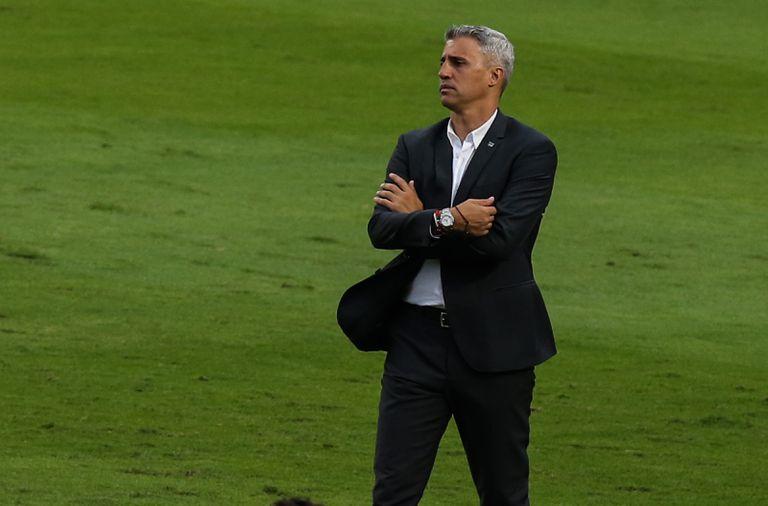 Hernán Crespo, en el partido de vuelta de la final entre San Paulo y Palmeiras del Campeonato Paulista 2021; su ciclo se terminó