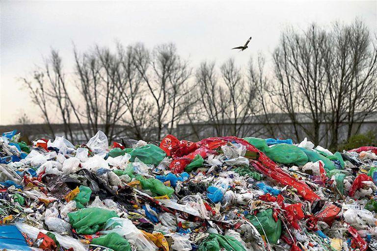 Bolsas de plástico se acumulan en el Ceamse de José León Suárez, en julio de este año