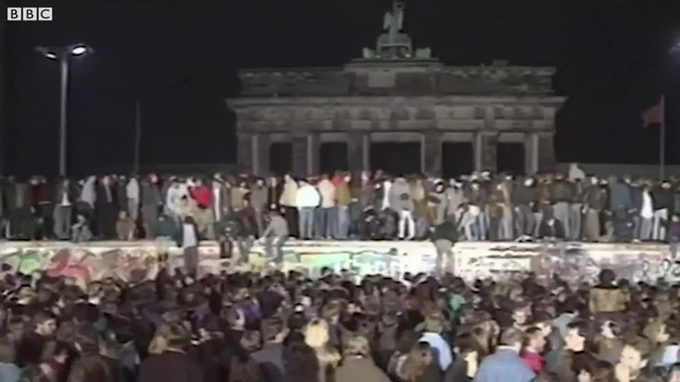 Celebraciones durante la caída del Muro de Berlín