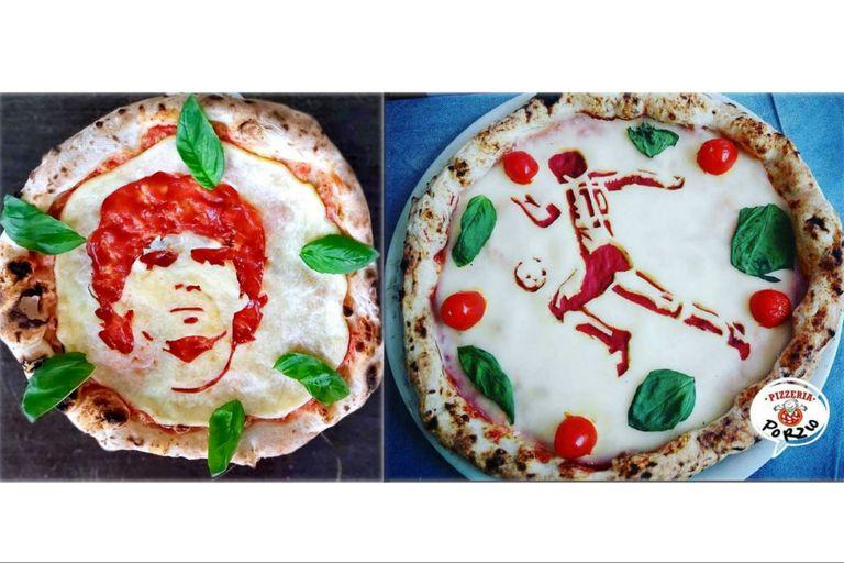 Las dos versiones de la pizza de Diego Maradona, creadas por el maestro pizzero Errico Porzio