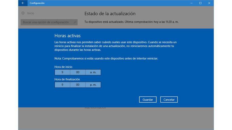 Configuración de los horarios en que no se reiniciará Windows para terminar de instalar una actualización
