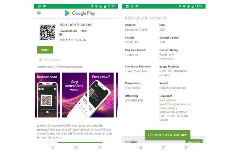 Barcode Scanner de Lavabird fue una aplicación que llegó a tener más de 10 millones de descargas, pero fue eliminada por Google tras el reporte de avisos publicitarios no deseados que fueron reportados por los usuarios del lector de código de barras