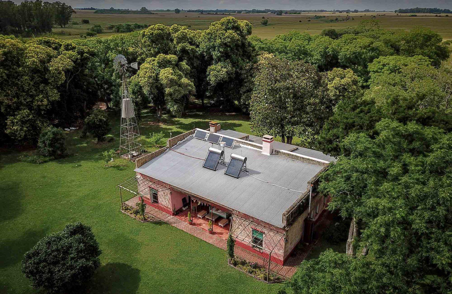 Vista aérea de la casa de huéspedes de Raucho.