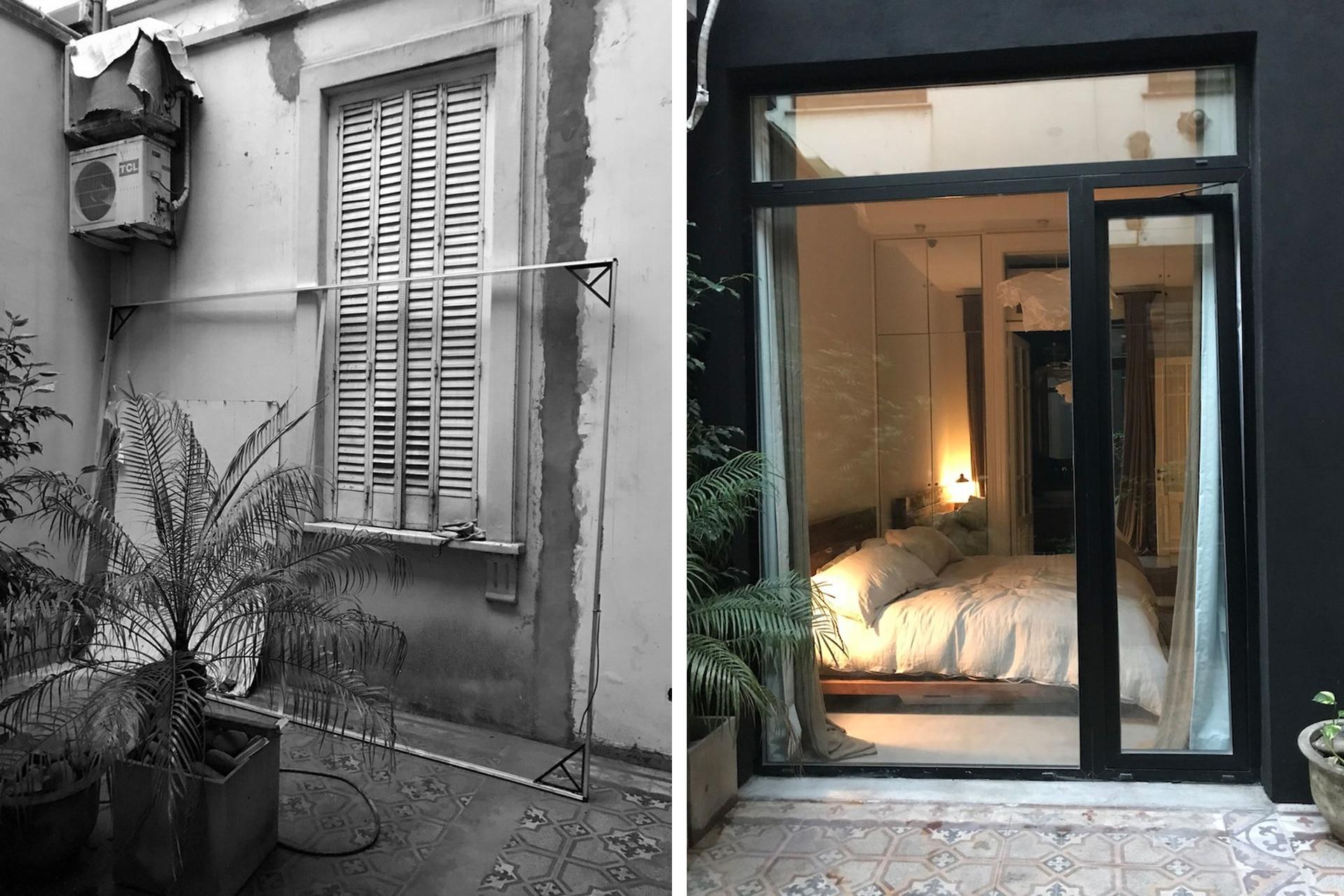 La abertura original fue reemplazadapor un gran ventanal que comunica el patio con el dormitorio.