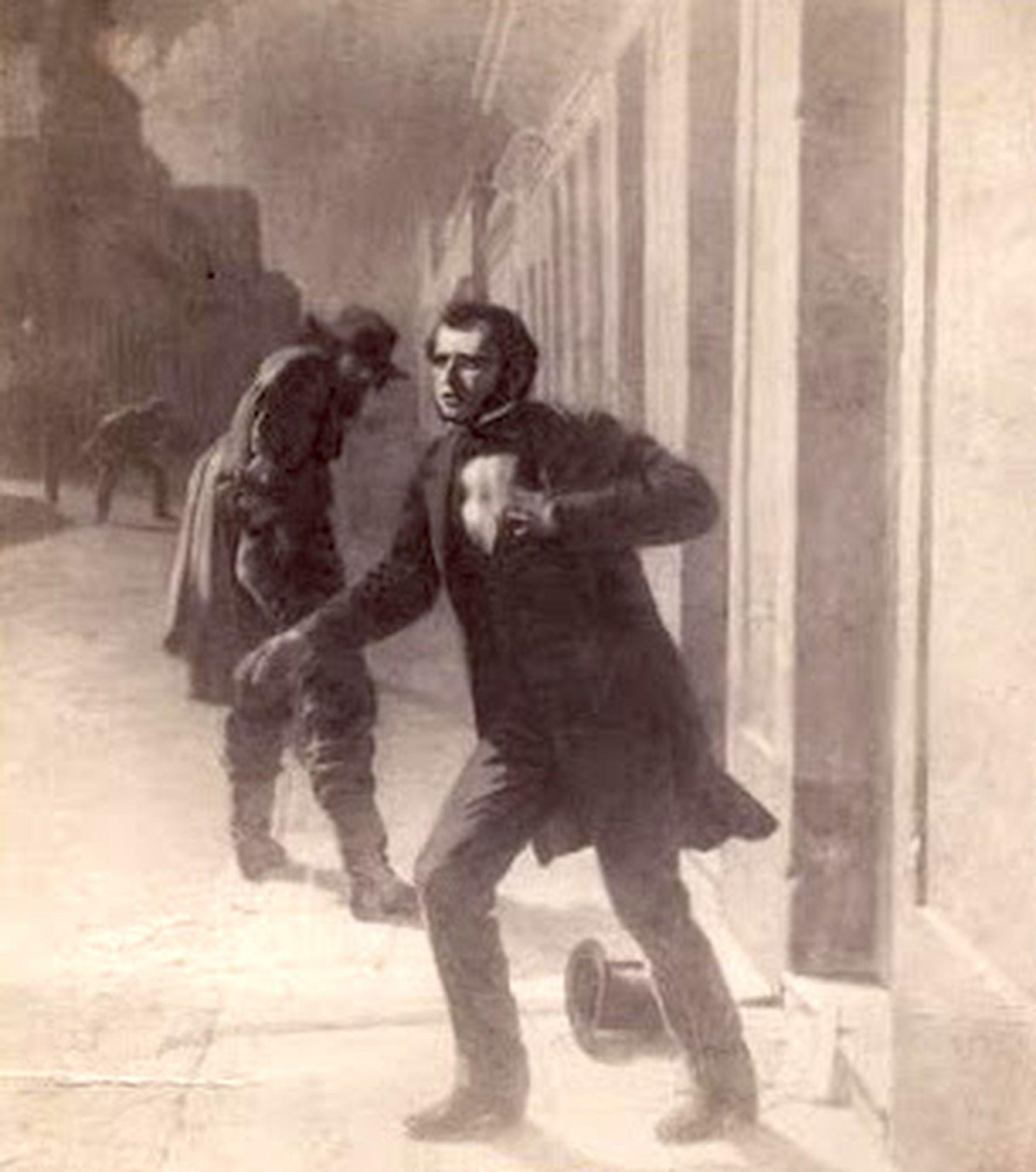 El 20 de marzo de 1848, un sicario apuñaló a Florencio Varela, publicista del partido Unitario, cuando ingresaba a su casa en la ciudad de Montevideo.