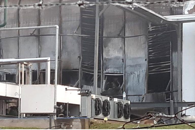 Así quedó la fabrica de chacinados Cagnoli, luego de que fuera arrasada por un incendio