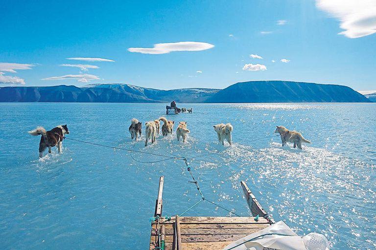 La foto del científico Steffen Olsen, del Centro para el Océano y el Hielo del el Instituto Meteorológico de Dinamarca, en el fiordo Inglefield Bredning, que se volvió viral