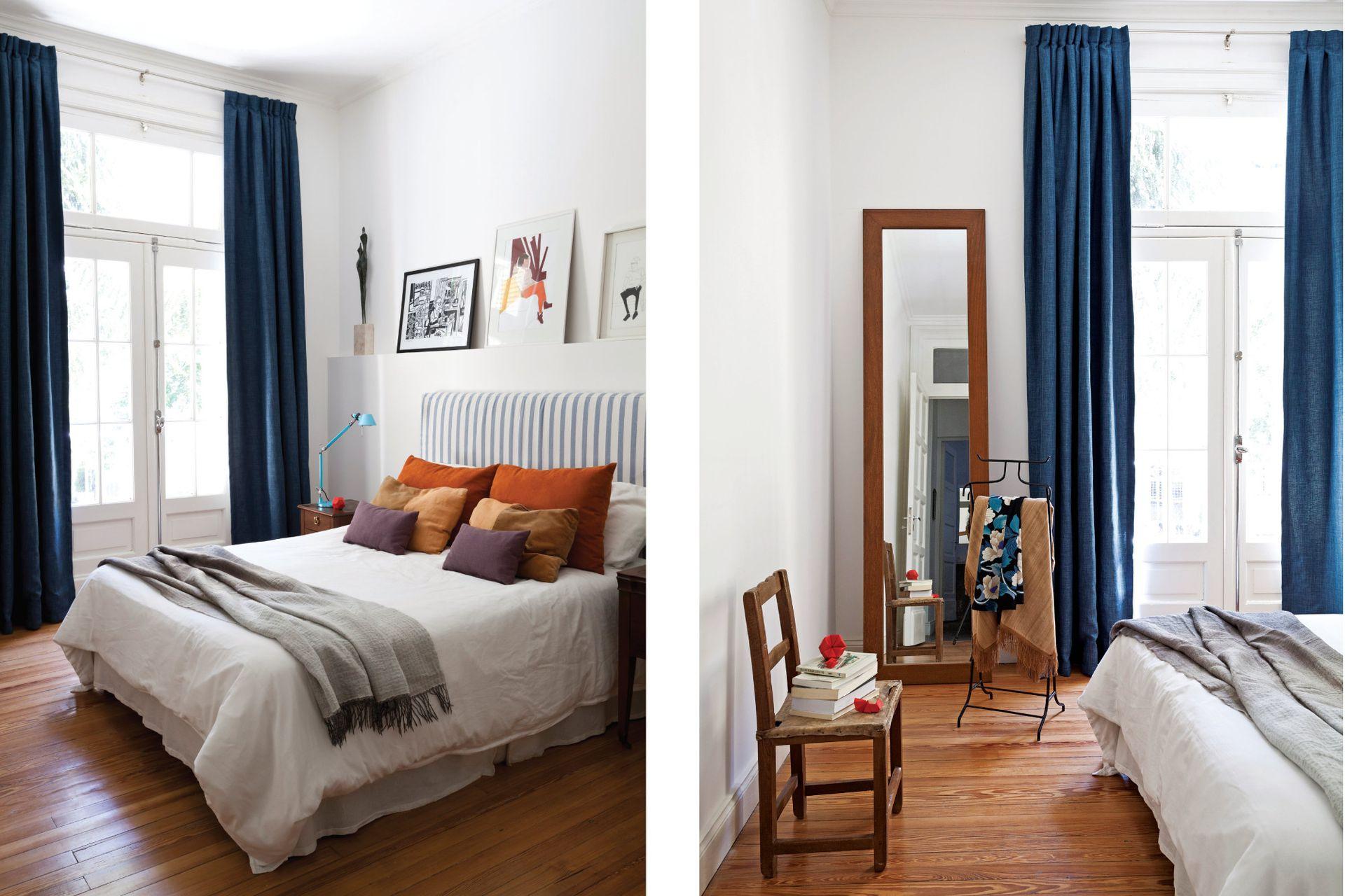 La paleta de colores del dormitorio surgió de una obra de Teresa Magrane, ubicada sobre la cabecera junto a otra de Luisa Freixas. Los tonos de azul varían en las cortinas (Gizadeco), el respaldo (LB) y la lámpara turquesa de la mesita de luz.
