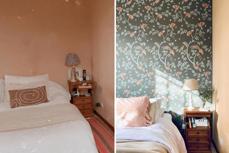 Antes y después de un dormitorio con pared pintada con esténcil