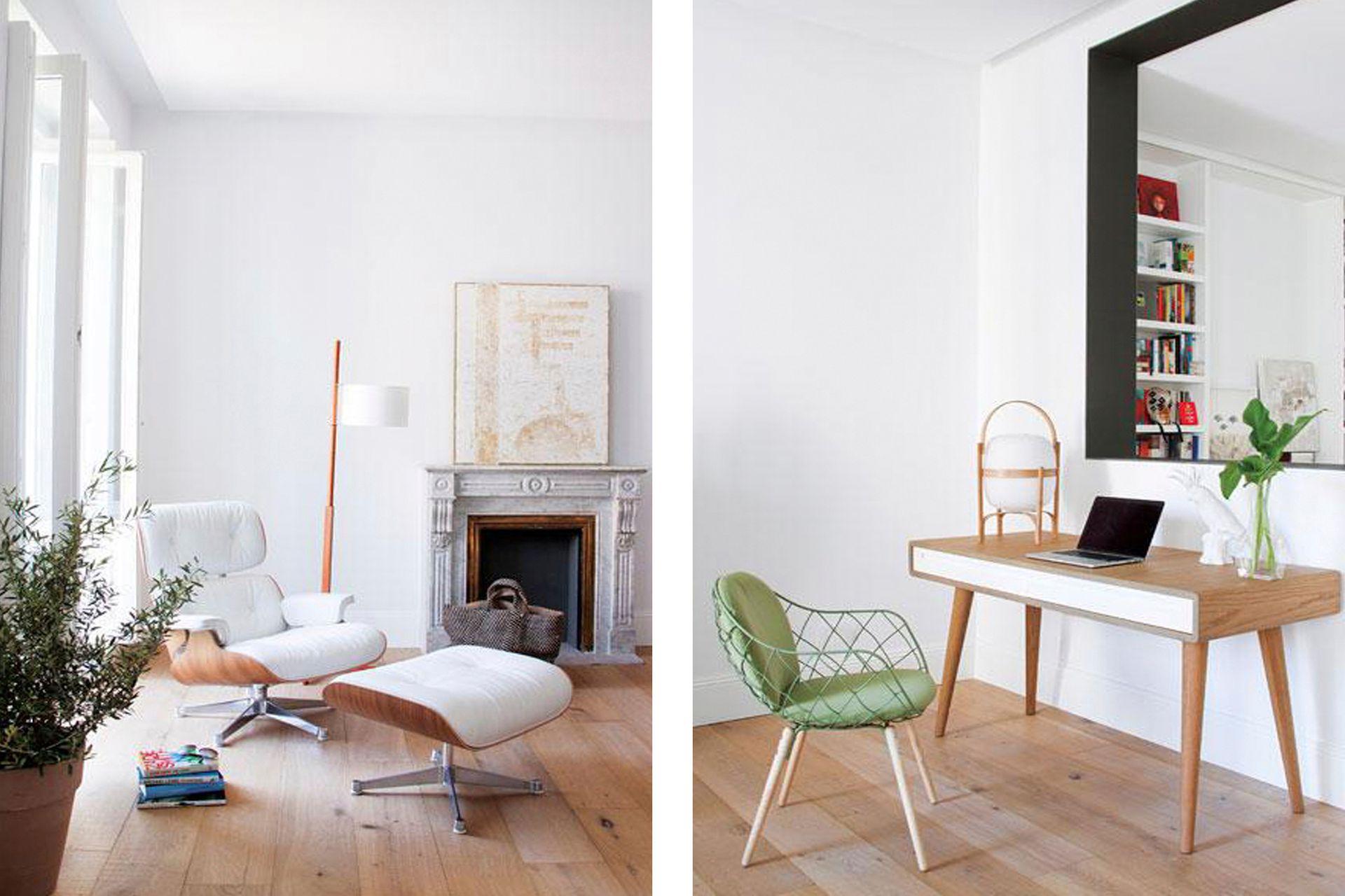 Junto a la silla con apoyapiés de Eames (Vitra), lámpara de pie 'TMM' de Miguel Milá (Santa Cole) en su variante de madera clara para seguir lo que propone el piso. Sobre el escritorio lámpara de mesa 'Cesta' (Santa Cole), otra creación de los años 60 de Miguel Milá.