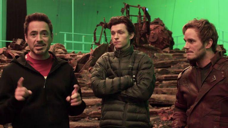 Robert Downey Jr, Tom Holland y Chris Pratt en rodaje