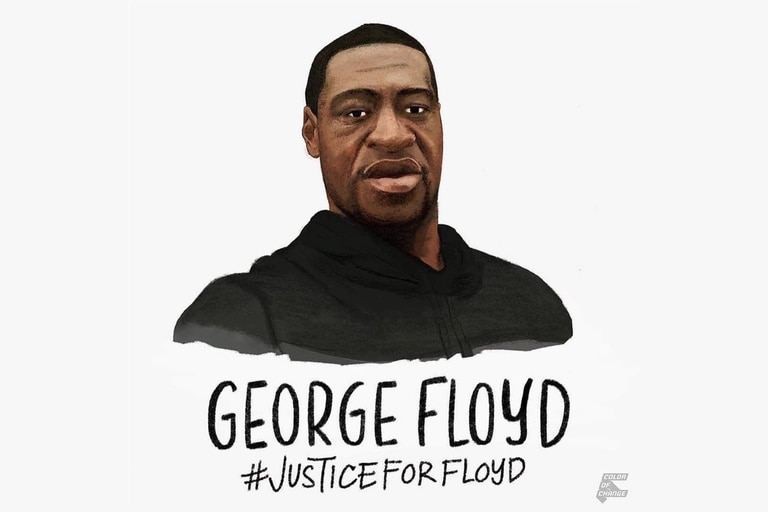 Una gráfica de George Floyd, creada después de su muerte en Minneapolis en manos de la policía, que pide justicia