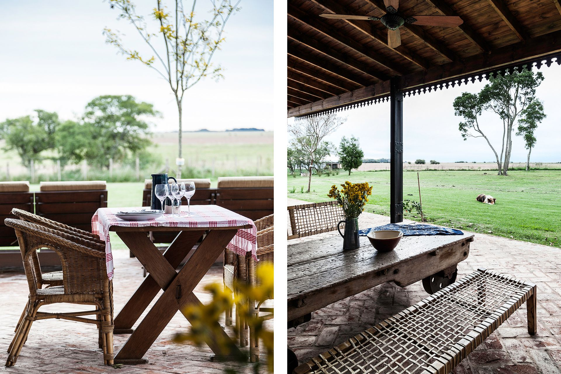 El piso de ladrillos trabados recorre todo el perímetro de la casa generando diferentes situaciones para disfrutar del entorno.