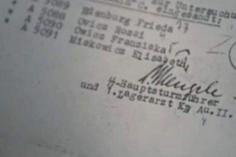 La firma del Ángel de la muerte en uno de los registros de los experimentos realizados con los hermanos Ovitz