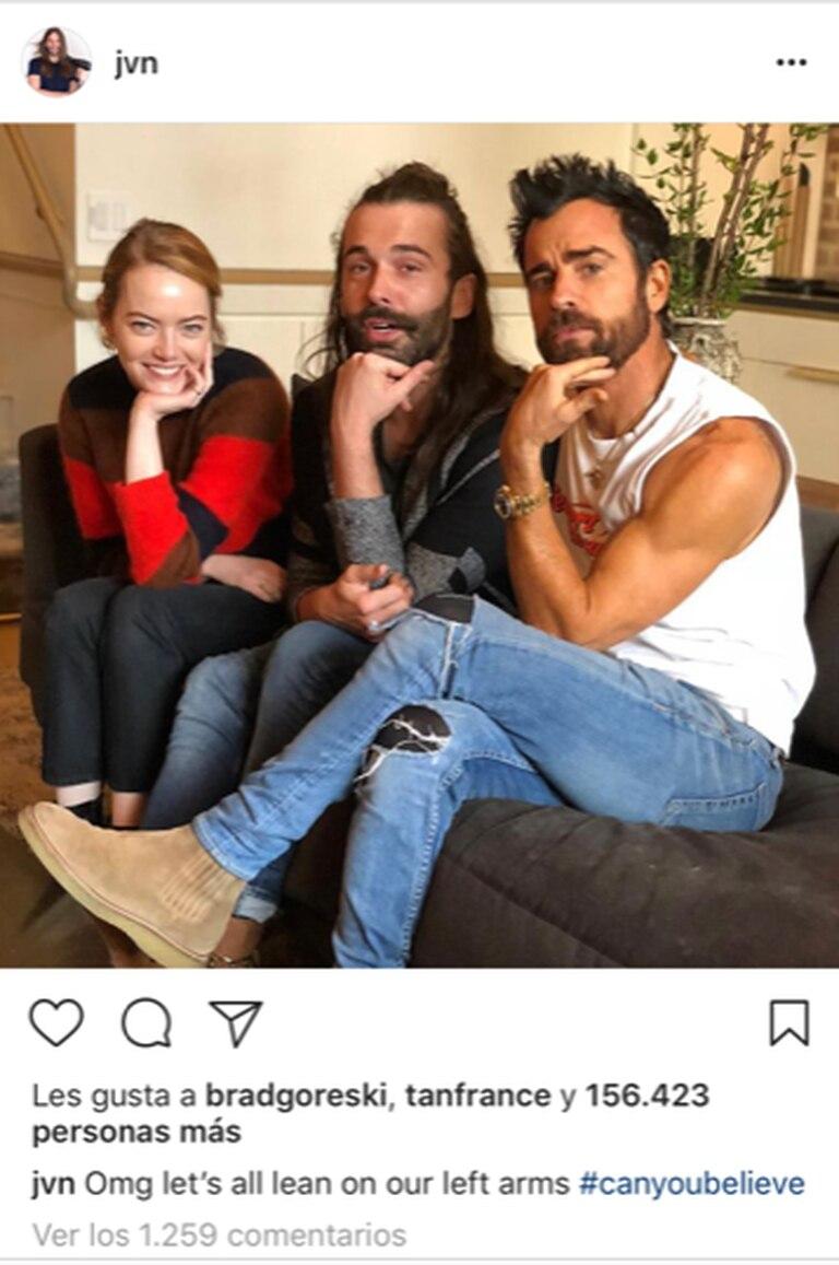 Emma Stone, Jonathan Van Ness y Justin Theroux