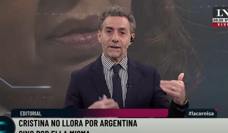 Luis Majul durante su editorial en LN+