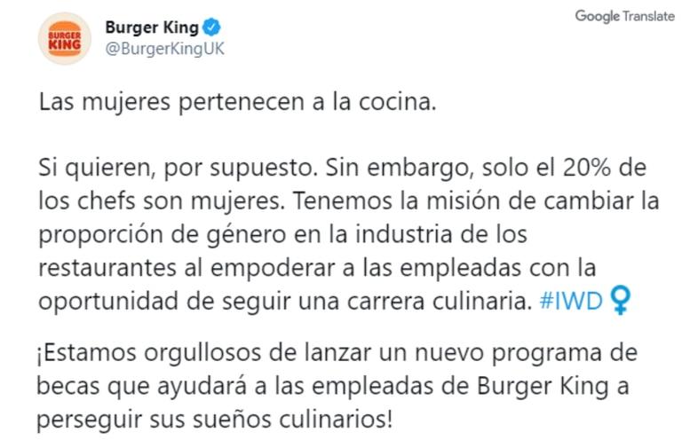 Polémica campaña de la sucursal británica de Burger King en el Día Internacional de la Mujer (Twitter)