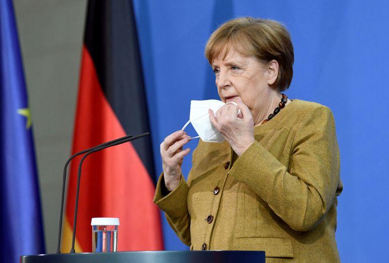 Angela Merkel, en el edifico de la Cancillería, en Berlín