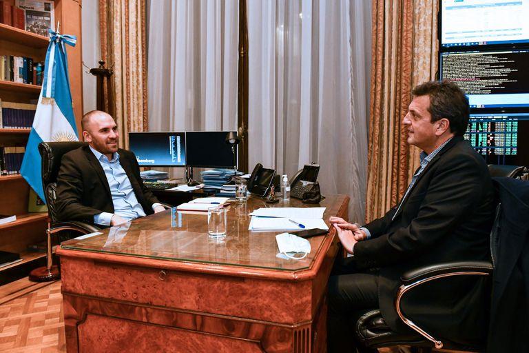 Martín Guzmán recibió a Sergio Massa en el Ministerio de Economía antes de que el jefe de la Cámara de Diputados inicie su visita a los Estados Unidos