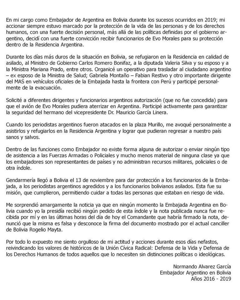 La carta del exembajador Normando Álvarez García