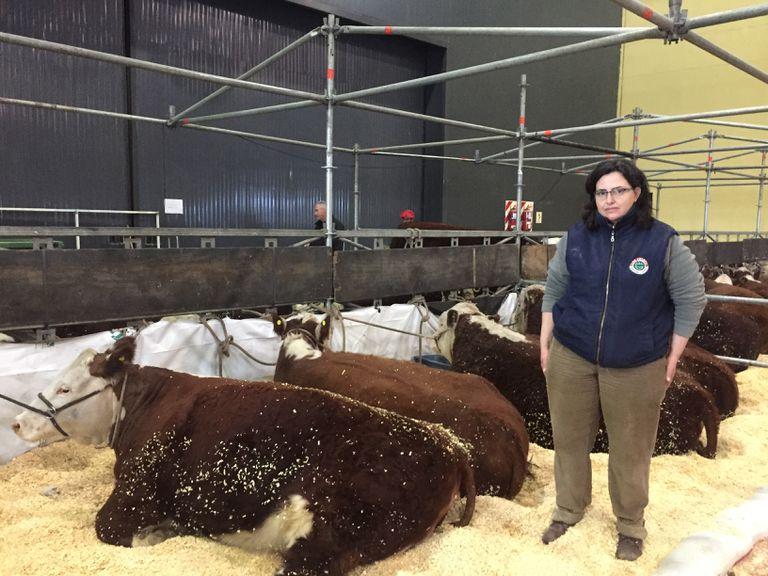 Laura Pezzi, de Los Ceibos, con animales de la cabaña en Palermo