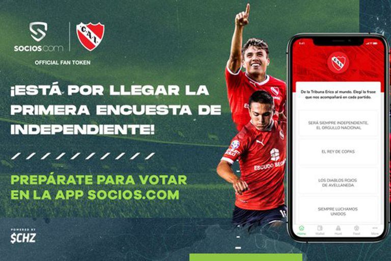 """""""Fan tokens"""": Independiente es el primer club de Sudamérica en sumarse a la plataforma digital y, a partir de ahora, los socios podrán intervenir en algunas de sus decisiones"""