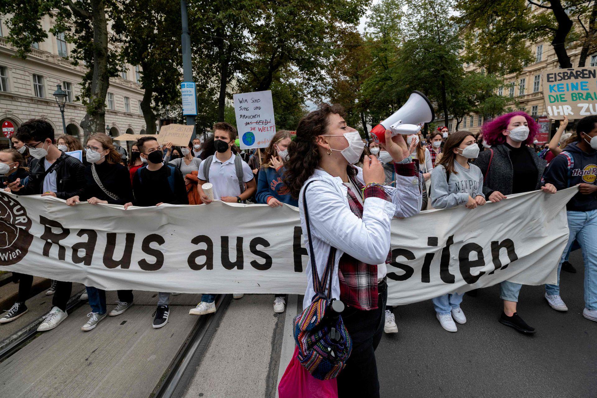 Mmarcha mundial por el clima en Viena, Austria, el 24 de septiembre de 2021
