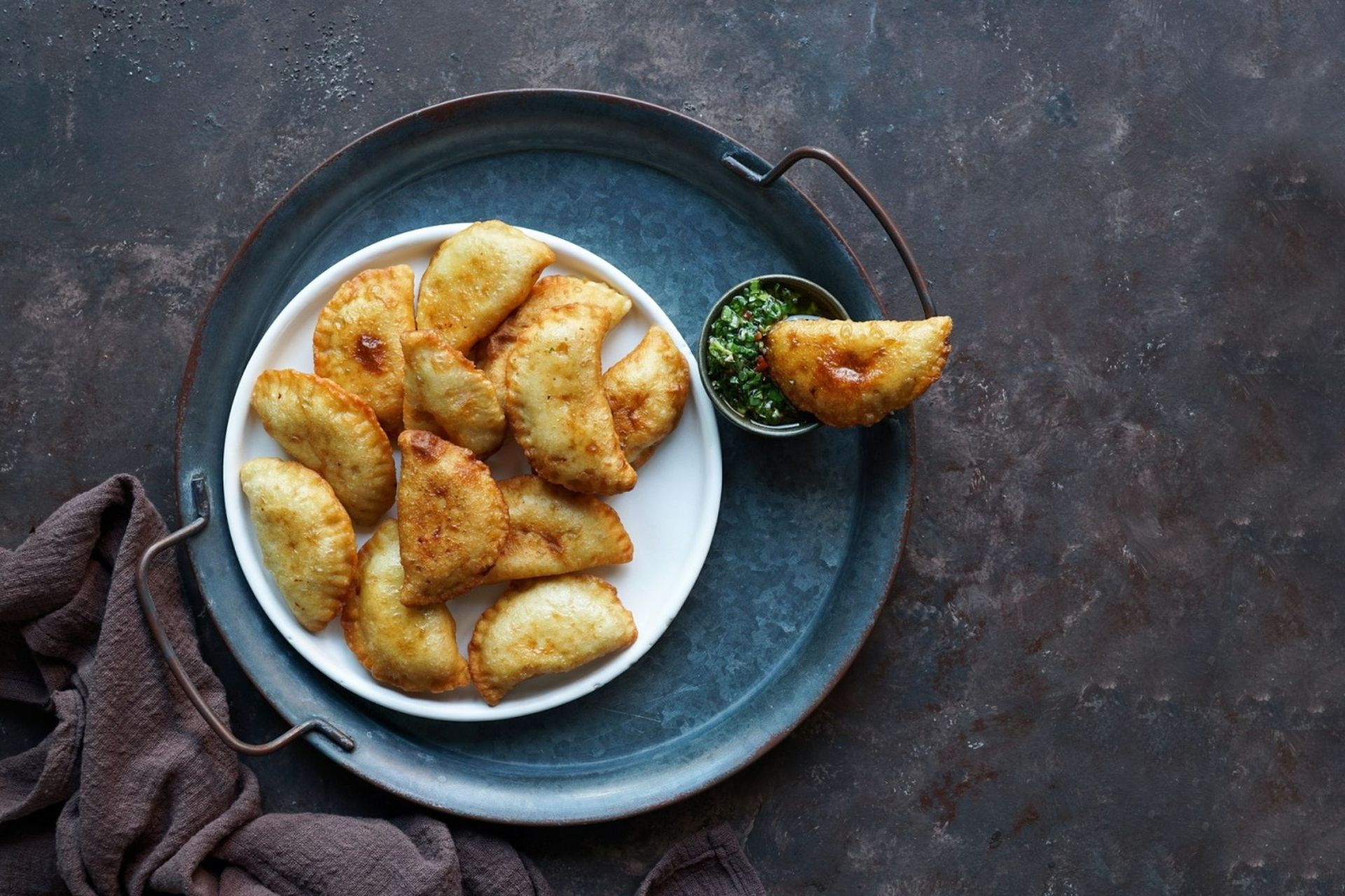 Empanadas de calabaza y langostinos de Alejandro Féraud, chef de Alo's