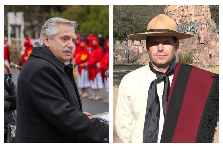 Durante el acto en Salta, Francisco Aráoz, representante de Gauchos de Güemes, se acercó al presidente Alberto Fernández para hacerle un fuerte reclamo
