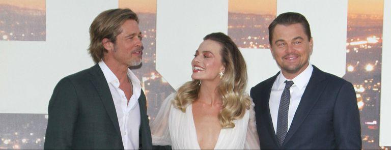 Margot Robbie, Brad Pitt y DiCaprio en el estreno de Había una vez en Hollywood